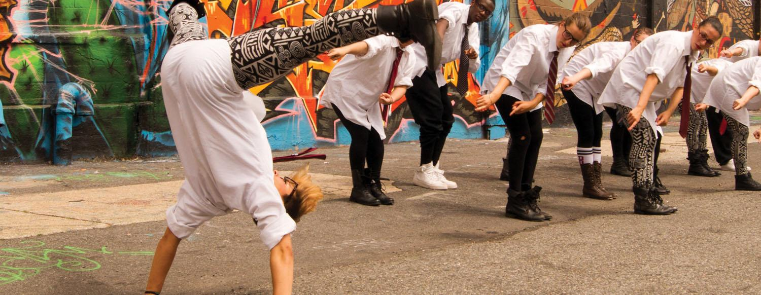 Teen artists creating awesome hip hop video in NYC