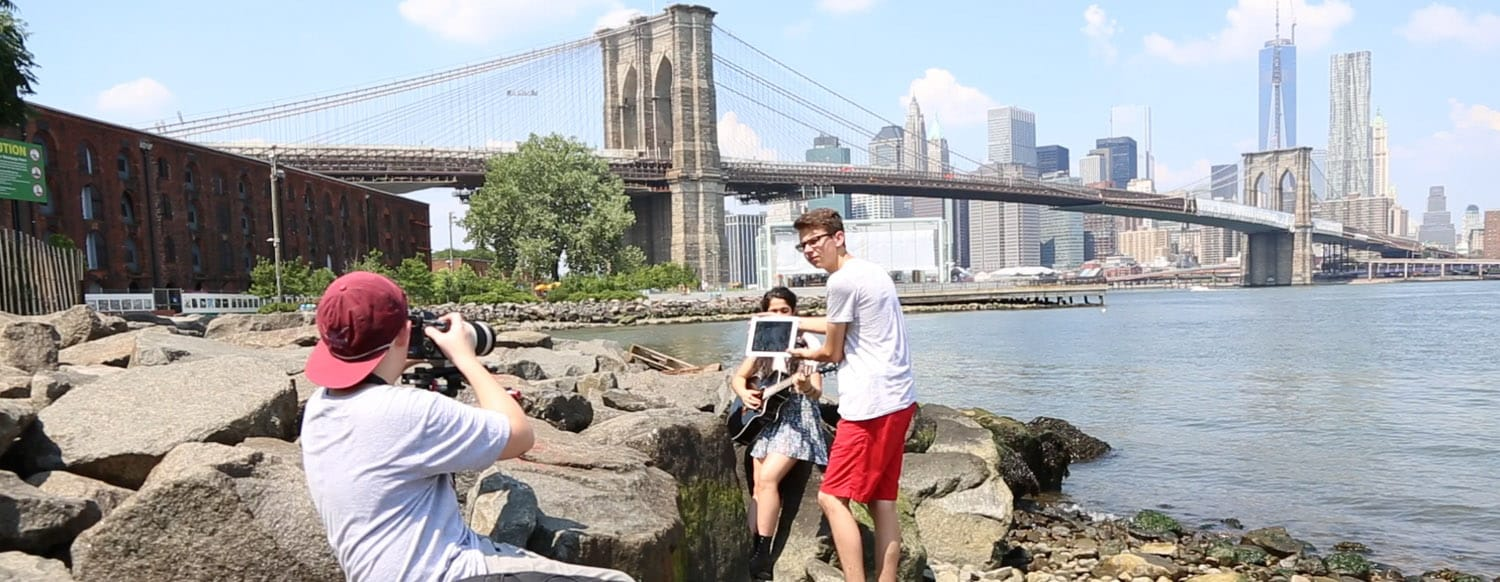 Filmmakers make a Music Video at NYC Camp under the Brooklyn Bridge