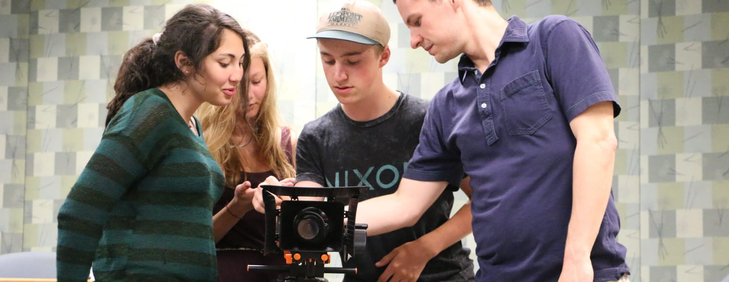 Filmmakers in Burlington Vermont learn filmmaking techniques during a camera tech