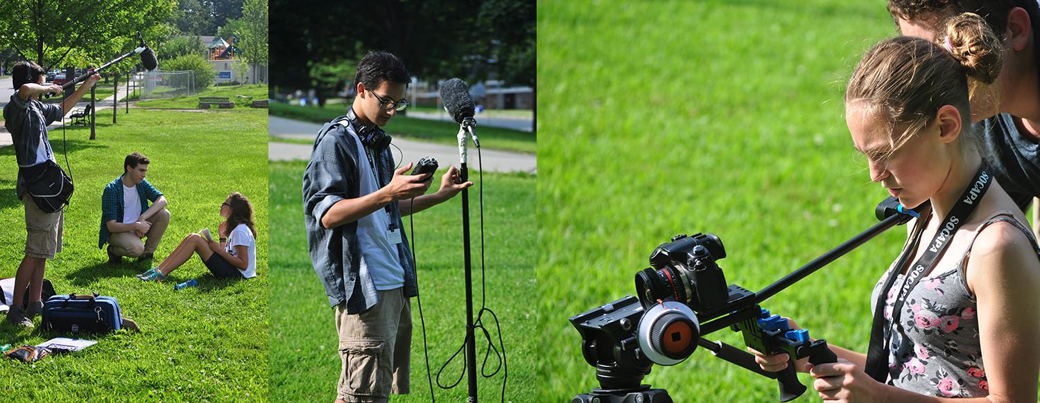 Teen Filmmakers on set during a filmmaking summer camp in Vermont