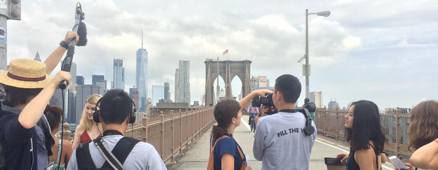 Teen Filmmakers make a film at NYC Camp on Brooklyn Bridge