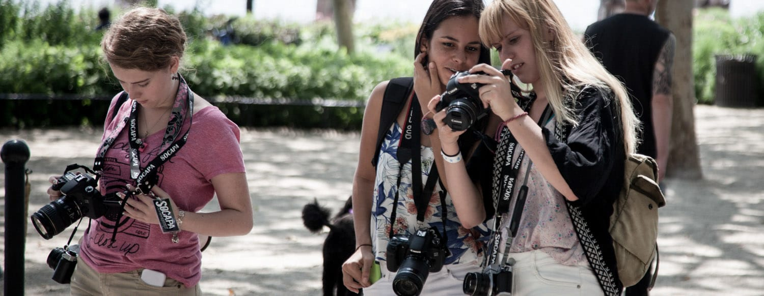 New York City Photographers take digital and 35mm photos in the park